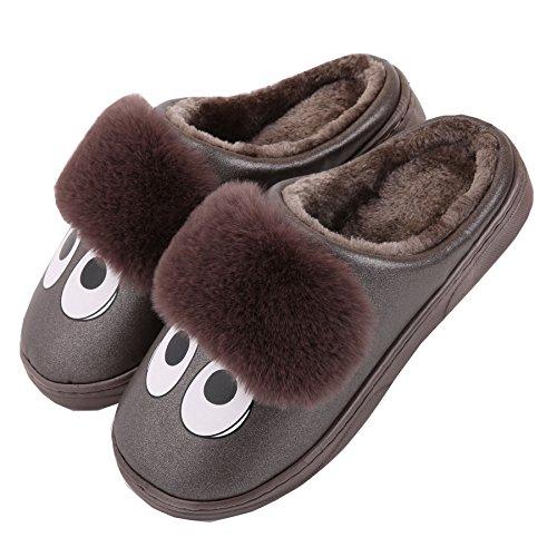 cartone animato Pelle sintetica famiglia pantofole a casa-Unisex inverno caldo felpa scarpe stivali Marron