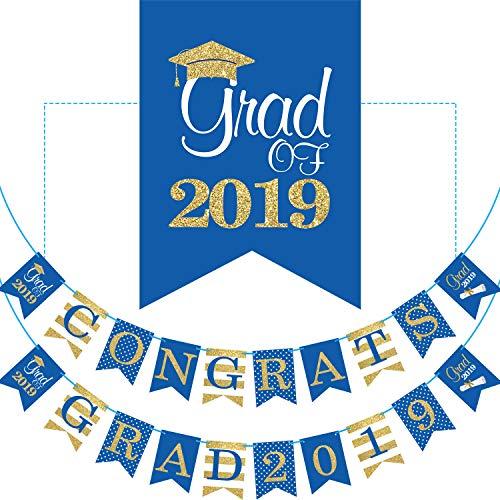 Banner - Keine DIY Erforderlich Abschlussfeier Lieferungen Dekorationen, Blaue Grad Banner für College, Weiterführende Schule Party (Congrats Grad 2019) ()