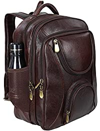 5384609364ed Leather World 17 inch Brown Genuine Leather Laptop Backpack for Men and  Women School and College