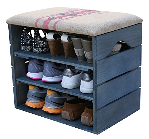 SHOE RACK (PETROLEUM BLUE) - Premium Vintage Wooden Shoes Organiser, Storage, Cabinet, Holder Bench with Soft Seat Cushion for Entryway, Hallway. Solid Nordic Wood - LIZA - 51 x 45 x 36 cm … (Red Stripes)