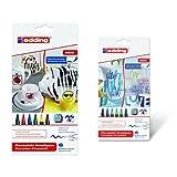 Edding - Pack 6 rotuladores con punta de pincel, multicolor + 6 rotuladores con punta de pincel, gama verde/azul
