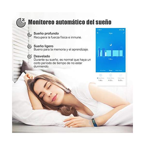 Glymnis Pulsera de Actividad Inteligente Pulsera Deportiva IP68 con 14 Modos de Deporte Notificaciones Monitor Rítmo Cardíaco y Sueño para Hombre Mujer Niño Compatible con iOS y Android 5
