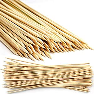500 Natural Mini Bamboo Wooden Skewers 15 cm - Barbecue Grill Sticks for Party Appetizers, Kebabs, BBQs, Fruits… 2