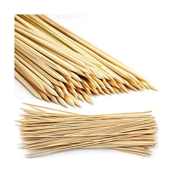 500 Natural Mini Bamboo Wooden Skewers 15 cm - Barbecue Grill Sticks for Party Appetizers, Kebabs, BBQs, Fruits… 1