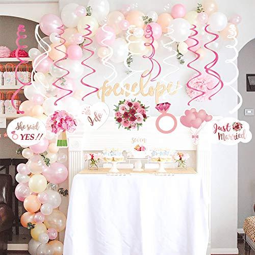 JoyTplay Hochzeitsparty Bridal Shower Dekorationen,30 Teilig Rosa Weiß Deckenhänger Spiral Girlanden mit Flower für Hochzeit Team Braut Dusche Henne Nacht Party (Bridal Dekoration Shower Ideen)