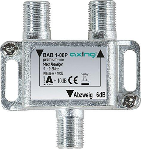 Axing BAB 1-06P 1-fach Abzweiger 6dB Kabelfernsehen CATV Multimedia DVB-T2 Klasse A+, 10dB, 5-1218 MHz metall