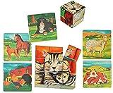 Unbekannt Bilderwürfel / Würfelpuzzle bemalt aus Holz - 9 Teile mit Vorlagen - Puzzle - Katze - Hund - Schaf - Pferd - Hahn - Kuh - Tiere Bauernhof