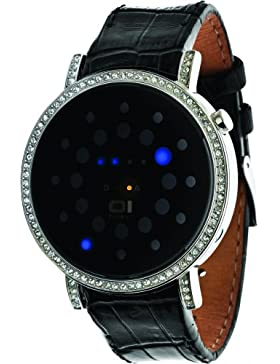 Thumbs Up. 32Blue LED WITH RHINESTONES and Steel Case binors502b1–Armbanduhr Unisex