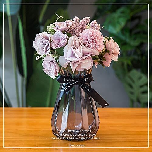 Jnseaol Kunstblumen Gefälschte Blume DIY Kreative Hochzeit Party Dekoration Glas Topf Lila Blume -14