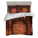 Set copripiumino (240 x 260 cm) con 2 federe Arredamento moderno Biancheria da letto con stampa digitale Concetto di semidarkness della muratura all'interno Concetto ombreggiato casa di campagna vuota