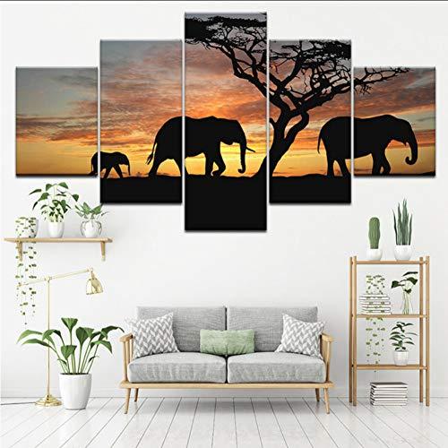 myvovo Pintura En Lienzo Los Elefantes De La Sabana Y La Puesta...
