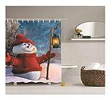 Epinki Polyester Bad Vorhang Schneemann Halten Lampe Muster Badewanne Vorhang Rot Weiß für Badewanne 120x180CM
