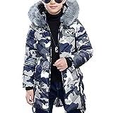 Daunenjacke Kinder Jungen Mädchen Winterjacke mit Fellkapuze Verdickte Kinderjacke Jacket Wintermantel Mantel Oberbekleidung Winter Kleidung ((Höhe150CM-160CM) Etikett 160, Blau)