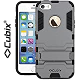 #8: iPhone 5S Case, Cubix Robot Series Case Cover UV Coated Slim Hybrid Defender Bumper shock proof Case Armor Cover With Stand for iPhone 5S (Grey)