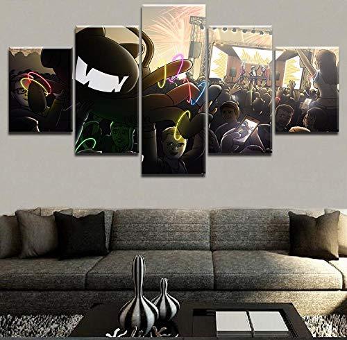 sanzx Modulare Bild Leinwand Malerei Wandkunst 5 Tablet Musik Monster Katze Hören Konzert Poster Wohnzimmer Home Decoration30 * 40 * 2 30 * 60 * 2 30 * 80 cm Rahmenlose -