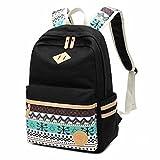 Schulrucksack,Aokey Fashion Mädchen Schulrucksack Damen Canvas Rucksack Teenager Baumwollstoff Streifen Schultasche Daypacks für Universität Outdoor Freizeit (Schwarz)