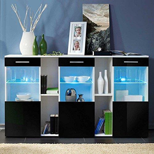 Paris Prix - Buffet 3 Portes Design dorade 160cm Noir & Blanc