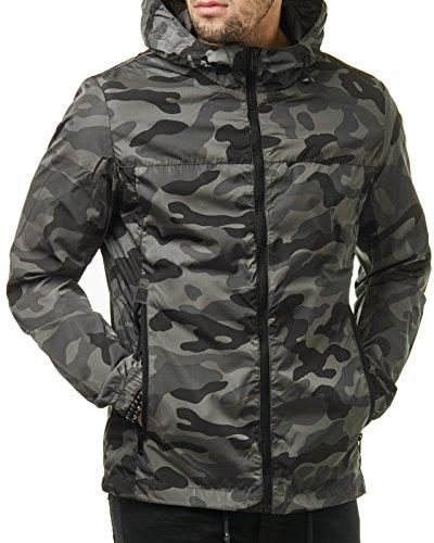 Camo-jacke (EightyFive Herren Camouflage Windbreaker Camo Übergangs Jacke Grau Grün EF299, Größe:L, Farbe:Camouflage Grey)