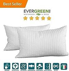 Evergreenweb - Occasione! Coppia Cuscini Memory Foam da Letto 40x70, ottimi per dolori cervicali, Guanciali Imbottitura Fiocco effetto Piuma, Cuscino adatto a tutti i materassi e letti