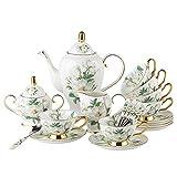 Bone China Porzellan Landhausstil Kaffeegeschirr Teetasse Kaffeeservice Teeservice mit Teekanne 15 Stück, Blume