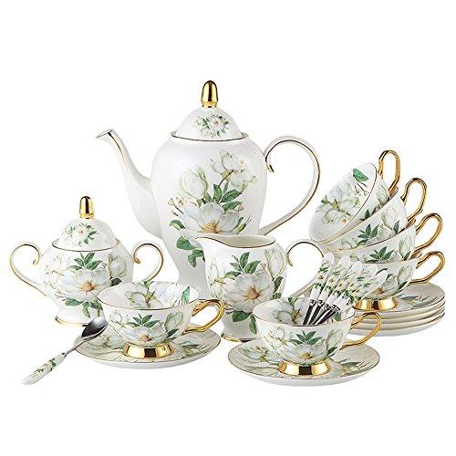 Bone China Porzellan Landhausstil Kaffeegeschirr Teetasse Kaffeeservice Teeservice mit Teekanne 15...