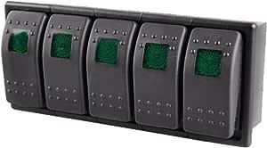 E Support 5 X Kfz Auto Offroad Kippschalter Druckschalter Schalter Wippschalter Wasserdicht 12v 20a Grün Led Licht 4pin An Aus Schalterhalter Auto