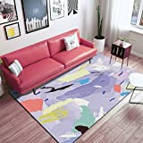 DAMENGXIANG Einfache Lila Abstrakte Weiche Teppich Wohnzimmer Couchtisch Schlafzimmer Rutschfeste Bodenmatte Wohnkultur Fuß Pad 40 × 60 cm