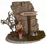 Bethlehem Schild mit Bank und Hirte für Krippe Holz Weihnachts-Krippe Krippen-Zubehör