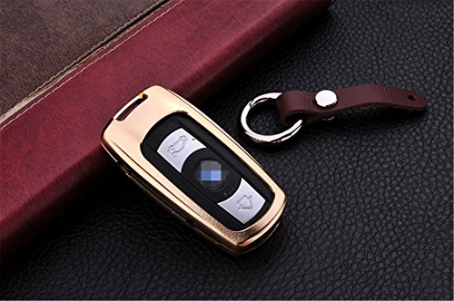 [m. jvisun] Auto Schlüsselanhänger Cover für BMW 35Series 6Series M3M5x1x5X6Z4Schlüssel, Fernbedienung Smart Key Cover Fall Haut Displayschutzfolie, Aircraft Grade Aluminium + Echtes Leder Schlüsselanhänger, gold
