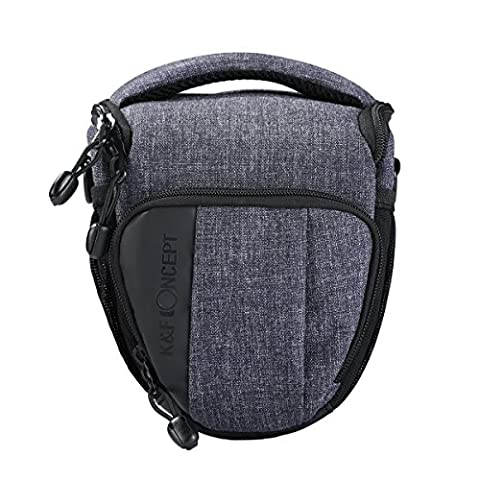 K&F Concept® Waterproof Camera Case Bag Soft Protector DSLR Camera Bag for One Mirrorless Canon Nikon Olympus Pentax Sony Samsung Digital Camera Light Grey Color(7.09*3.94*6.50) with Rain