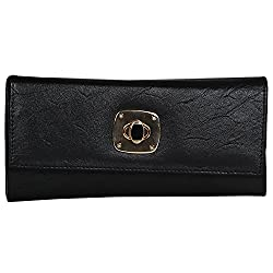 Aadhunik Libaas Womens PU Long Clutch (Black)
