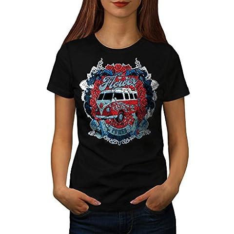 Flower Power Hippy Women L T-shirt | Wellcoda