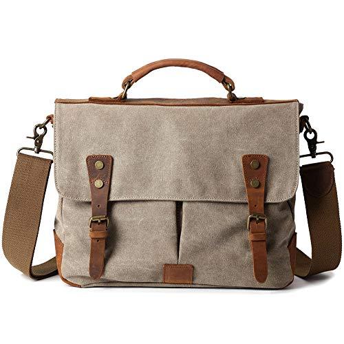 7bf86488489e5 YMMONLIA Herren Umhängetaschen Aktentasche Vintage Laptoptasche  Wasserdichte Canvas Groß Arbeitstasche Messenger Bag Männer