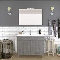 DUCHA.ES Mueble DE BAÑO con Lavabo Espejo TOALLERO LUZ LED Conjunto Moderno Medidas (80 CM, Roble Ceniza)
