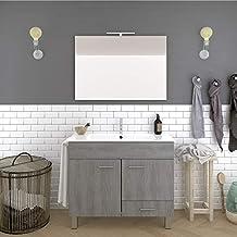 DUCHA.ES Mueble DE BAÑO con Lavabo Espejo TOALLERO LUZ LED Conjunto Moderno Medidas (
