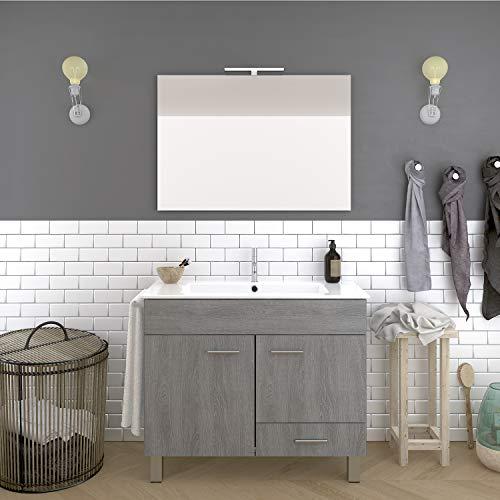 DUCHA.ES Mueble DE BAÑO con Lavabo Espejo TOALLERO LUZ LED Conjunto Moderno Medidas (60 CM, Roble Ceniza)