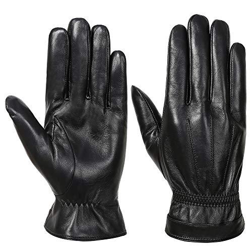 Acdyion Herren Winter Echtleder Handschuhe Warm Touch Screen Lederhandschuhe Outdoor Fahren Winddicht Warme Winterhandschuhe (Black, XL)