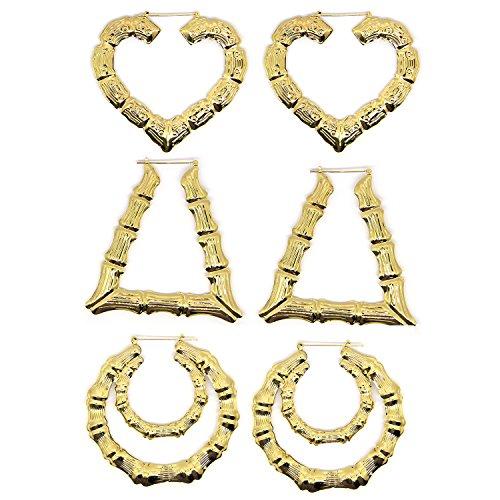 Zhichengbosi Ohrringe für Frauen, in Bambusoptik (Gold), 3 unterschiedliche Designs