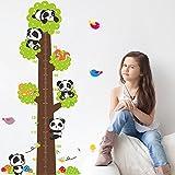 ufengke® Cartoon Panda Baum Höhe Diagramm Abziehbilder, Kinderzimmer Babyzimmer Entfernbare Wandtattoos Wandbilder