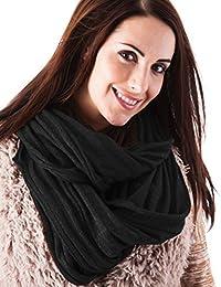 Ladies Black Glitter Ribbed Knit Snood Warm Winter Scarf Hood Neck Warmer Cowl