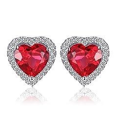 Idea Regalo - JewelryPalace Cuore Of Ocean 3.8ct Sintetico Rosso Rubino Amore Eterno Halo Stud Orecchini 925 Sterling Argento