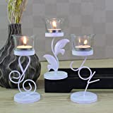 #7: Hosley Set of 3 White Trendy Table Decoration Tealight Holder