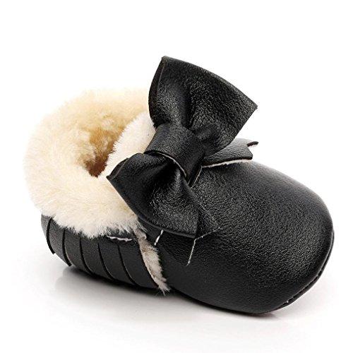 Babyschuhe Longra Baby Schneestiefel Bowknot weiche Sohle weiche Krippe Baumwolle Schuhe Lauflernschuhe Krippeschuhe Kleinkind Stiefel (0-18 Monate) Black