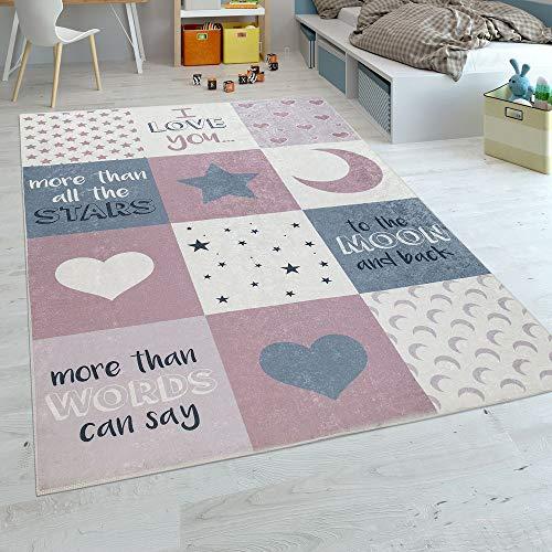 Paco Home Alfombra Habitación Infantil Niña Lavable Corazón Estrellas Luna Frase Rosa Gris, tamaño:140x200 cm