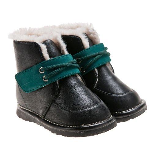 Little Blue Lamb, Stivali bambini nero nero/verde, nero (nero/verde), 21