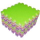 Schaumstoff Puzzlematte- 18-teilig Spielmatte 26 x 26cm Mehrfarbiges Puzzlespiel Bodenmatte Spielmatte von Kurtzy- zusammensteckbare Baby Spielmatte- Ideal für Yoga, Sportübungen, oder als Spielunterlage (sicher& weich)
