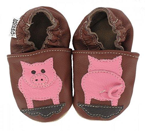 HOBEA-Germany Krabbelschuhe in verschiedenen Farben und Designs mit Tieren, Schuhgröße:16/17 (0-6 Monate);Modell Schuhe:Schwein (Mädchen Für Schweine-hausschuhe)