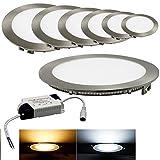 3W LED Panel Silber Gebürstet Sehr Flach Rund Spot Light Leuchte S08 Warmweiß 230V