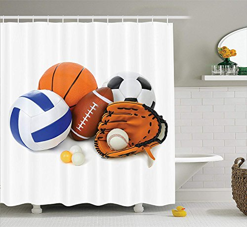 JIEKEIO Sports Decor Shower Curtain Set, Many Different Sports Balls All Together Championship Ping Pong Volleyball Olympics Concept, Bathroom Accessories, 60 * 72inch Extralong, Multi