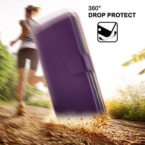 iPhone 5C Hülle Dunkel-Rot mit Karten-Fach [OneFlow 360° Book Klapp-Hülle] Handytasche Kunst-Leder Handyhülle für iPhone 5C Case Flip Cover Schutzhülle Tasche INDIGO-VIOLET